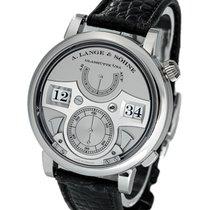 A. Lange & Söhne Platinum Manual winding Silver 42.2mm pre-owned Zeitwerk