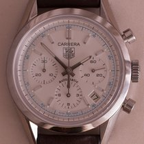 TAG Heuer Carrera Calibre 17 pre-owned 39mm White Chronograph Date Leather