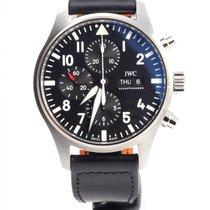 IWC Pilot Chronograph IW377709 IWC Aviatore Chrono Nero 43mm Cinturino Pelle Nera Day Date PILOT New Steel 43mm Automatic