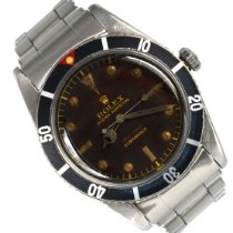 Rolex Submariner (No Date) Acier escluso corona 37mm Noir Sans chiffres