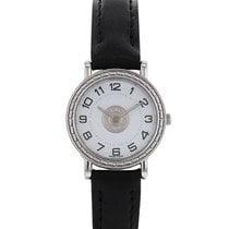 Hermès Sellier Steel 24mm White Arabic numerals
