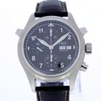 IWC Pilot Double Chronograph tweedehands 42mm Zwart Dubbele chronograaf Datum Dagaanduiding Krokodillenleer