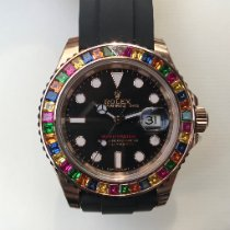 Rolex Aur roz 40mm Negru Fara cifre