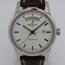 Breitling Transocean Day & Date Stahl 43mm Silber