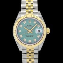 Rolex Yellow gold Automatic Green 28mm new Lady-Datejust
