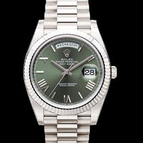 Rolex White gold Automatic Green 40mm new Day-Date 40