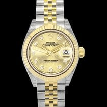 Rolex Yellow gold Automatic Champagne 28mm new Lady-Datejust
