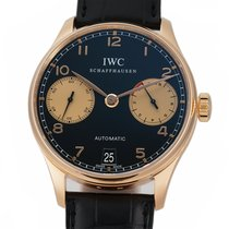 IWC Rose gold Automatic Black Arabic numerals 42mm pre-owned Portuguese Automatic
