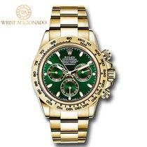 Rolex Daytona Жёлтое золото 40mm Зелёный Без цифр