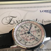 Longines Column-Wheel Chronograph pre-owned 41mm White Chronograph Date Tachymeter Crocodile skin