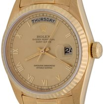 Rolex Yellow gold Automatic Champagne Roman numerals 35mm pre-owned Day-Date 36