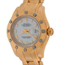 Rolex Lady-Datejust Pearlmaster Жёлтое золото 28mm Белый Римские