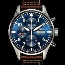 萬國 Pilot Chronograph 鋼 43mm 藍色 阿拉伯數字