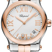 Chopard Happy Sport Goud/Staal 36mm Wit Romeins