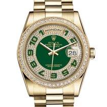 Rolex Day-Date 36 Or jaune 36mm Vert Arabes
