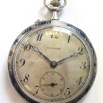 Eterna Reloj usados 1900 Plata 50mm Árabes Cuerda manual Solo el reloj