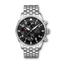 IWC Pilot Chronograph Acier 43mm Noir Arabes France, Paris