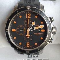 Tissot Seastar 1000 rabljen 48mm Crn Kronograf Datum, nadnevak Kaučuk