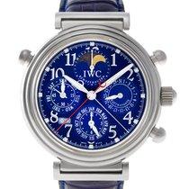IWC Platinum Automatic Blue Arabic numerals 41mm pre-owned Da Vinci Perpetual Calendar
