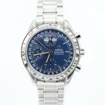 Omega Speedmaster Day Date pre-owned 39mm Blue Chronograph Date Tachymeter Steel