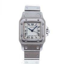 Cartier Santos Galbée Stahl 35mm Weiß