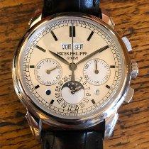 Patek Philippe Perpetual Calendar Chronograph Vitguld 41mm Silver Inga siffror