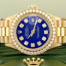 Rolex Gelbgold Automatik Blau 26mm gebraucht Lady-Datejust