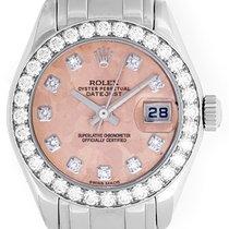 Rolex 18k White Gold Pink Crystal Diamond Pearlmaster Ladies...