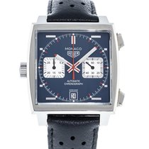 TAG Heuer Monaco Calibre 11 pre-owned 39mm Blue Date Leather