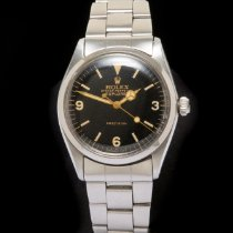 Rolex Explorer Staal 34mm Zwart Geen cijfers