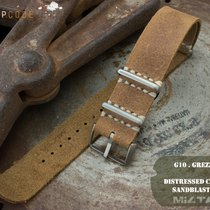 MiLTAT 22mm G10 Grezzo Leather Watch Strap, Camel PVD