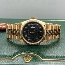 Rolex Datejust YELLOW GOLD Black Computer Dial Automatic 36mm