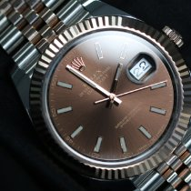 Rolex Datejust II Gold/Steel 41mm Brown No numerals