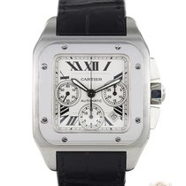 Cartier Santos 100 używany 41mm Srebrny Chronograf Data Skóra