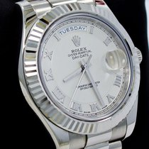 Rolex Day Date II President 218239 18k White Gold Ivory Dial...