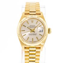 Rolex Yellow gold Automatic Silver 26mm pre-owned Lady-Datejust