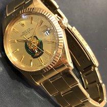 Rolex Oyster Perpetual Date Жёлтое золото 34mm Цвета шампань Без цифр