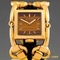 Gucci Жёлтое золото Кварцевые Коричневый 35 mm width case including braceletmm подержанные