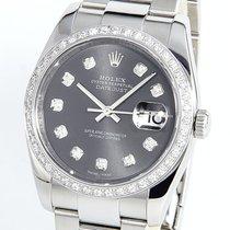 Rolex PAPERS Datejust 116200 18K WG 1CT Diamond Grey