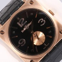 Bell & Ross BR-S 18k Rose Gold Mechanical 39mm Watch-Alligator...