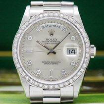Rolex 18346 Oyster Perpetual Day Date Platinum Diamond Bezel...