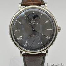 IWC Portofino Hand-Wound pre-owned 46mm Grey Moon phase Crocodile skin