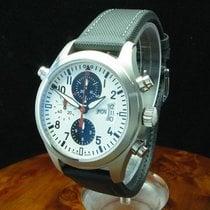 IWC Fliegeruhr Doppelchronograph gebraucht 44mm Weiß Chronograph Doppelchronograph Flyback-Funktion Leder