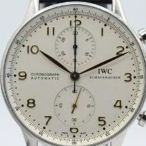 IWC Portugieser Chronograph Stahl 41mm Weiß Arabisch