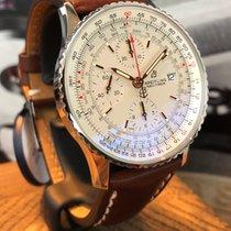 Breitling Navitimer Heritage gebraucht 41mm Silber Chronograph Datum Leder