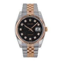 Rolex DATEJUST 36mm Steel & Rose Gold Black Diamond Dial 116231