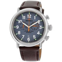 Shinola The Runwell Blue Dial Leather Strap Men's Watch 10000167