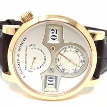 A. Lange & Söhne Rose gold Manual winding Silver Arabic numerals pre-owned Zeitwerk