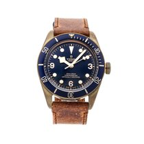 Tudor Black Bay Bronze pre-owned 43mm Blue Leather