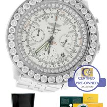 Breitling Chronograph 11.96ctw Silver Diamond A25363 Steel...